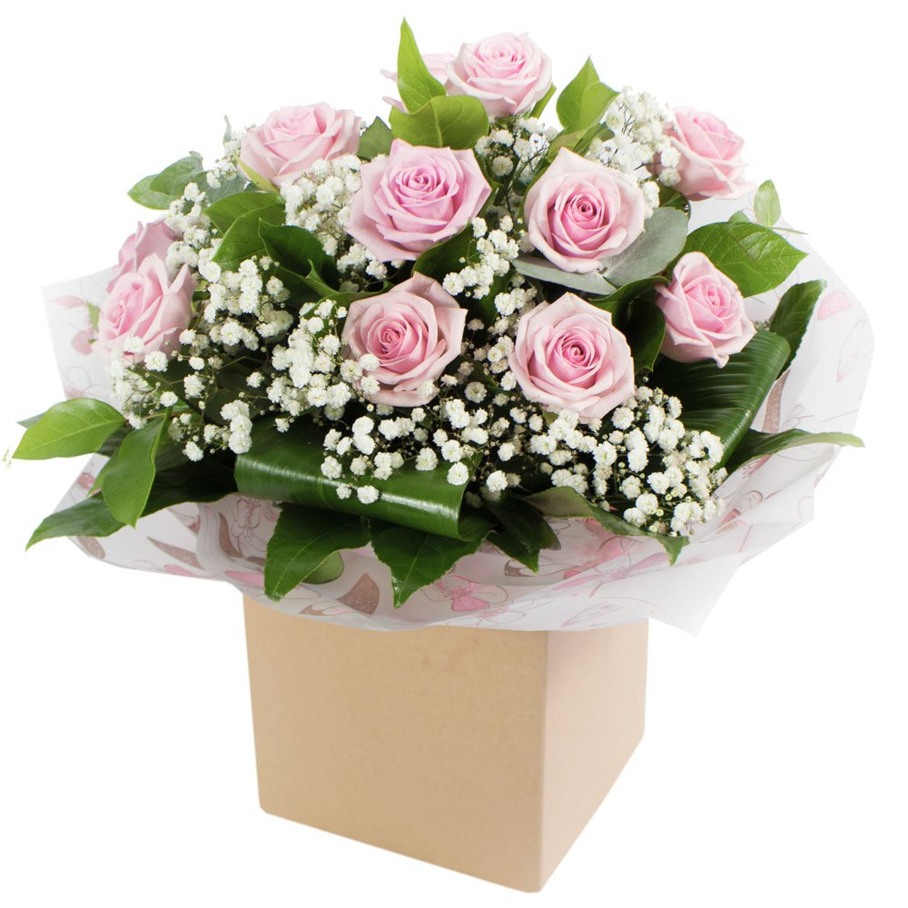 Dreamy Dozen Pink Roses - Hand Tied Aqua Pack